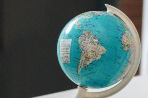 Globe: South america, Brazil.